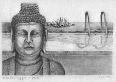 Buddha @ the Pool for Donna — Graphite and charcoal on paper