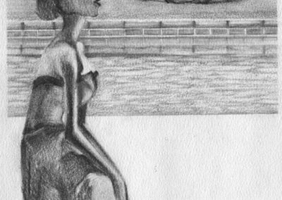 Kneeling Statue Lifeguarding — Graphite and charcoal on paper